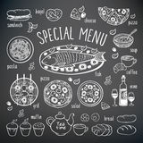 Big set of food elements. Royalty Free Stock Images