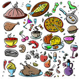 Big set: food icons various delicious dishes . Traditional cuisine. Main course. Healthy junk food, seafood, fast food Royalty Free Stock Images