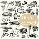 Big set of food product. Original detailed drawing Stock Photo