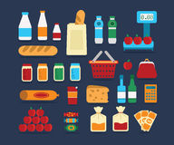 Big set of food products. Vector. Big set of flat vector icons of foods product for the web royalty free illustration