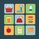 Big set of food products. Vector. Big set of flat vector icons of foods product for the web Stock Photo