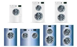 Big Set Of Front Load Double White and Blue Steel Washing Machin. Es With Electronic Control Panels And Additional Small and Big Load. Vector Front Load Double Stock Photos