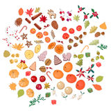 Big set with fruits and candies isolated on white. Stock Photography