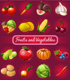 Big set of fruits and vegetables, 16 icons. On a dark red background royalty free illustration