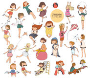 Big set of fun kids illustrations in various summer activities on playground. Girls playing outdoors, smiling, hugging, jumping. V Stock Photo