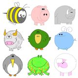 Big set of funny animals. Big set of cute funny animals Stock Images