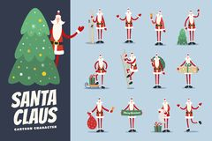 Big set of funny cartoon Santa Claus in various hilarious poses. Merry christmas design elements. Vector Illustration Stock Images