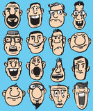 Big Set of Funny Doodle Faces Royalty Free Stock Image