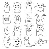 Big set of funny Halloween doodle monsters. Stock Photography