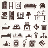 Big set of furniture and home related silhouettes and icons Royalty Free Stock Photos
