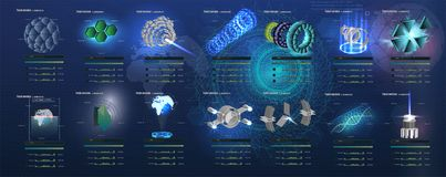 A big set of futuristic 3D elements in HUD style. Abstract space extraterrestrial vektory background. A big set of futuristic 3D elements in HUD style stock illustration