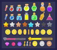 Big set of game resources and elements icon. Coins with animation, stars, life and power bars, poison bottles, keys and gems. vector illustration