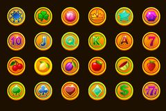 Big set gaming icons on golden coins for slot machines or casino. Game casino, slot, UI. Vector icons on separate layers. Vector Big set gaming icons on golden vector illustration