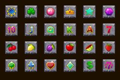 Big set gaming icons for slot machines or casino on stone square. Game casino, slot, UI. Vector icons on separate layers. Vector big set gaming icons for slot royalty free illustration