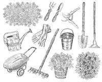Big set with garden tools and plants. Design set with vintage garden tools, hand drawn elements Stock Image
