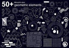 Big set of geometric elements for Memphis style design. Crystals, crowns, spirals, circles, zig zag and dotted patterns. 1980s-1990s motifs royalty free illustration