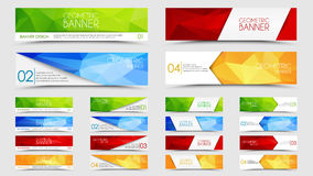 Big set of geometric polygonal banners Stock Images