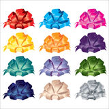Big set of gift bows with ribbons. Stock Photos