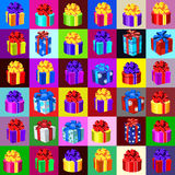 Big set of gift boxes and bags, 36 icons. Big set of gift boxes and bags on a different background Royalty Free Stock Images
