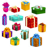 Big set of gift boxes different colors and shapes. 13 icons on white background for your design needs stock illustration