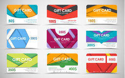 Big set of gift cards of different values. stock illustration