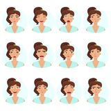 Big set of girl`s emotions. Woman`s face expressions. stock illustration