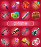 Big set of girl stuff Royalty Free Stock Photos