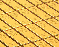 Big Set of Gold bars Royalty Free Stock Images