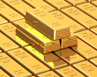 Big Set of Gold bars Royalty Free Stock Image