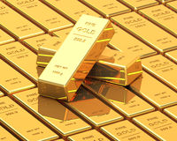 Big Set of Gold bars. Close up Image Royalty Free Stock Images