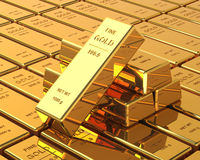Big Set of Gold bars Stock Photo
