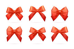 Big set of gold gift bows with ribbons. Royalty Free Stock Photography