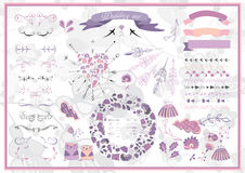 Big set of graphic elements for wedding, save the date Royalty Free Stock Photos