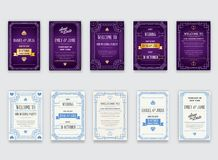 Big Set of Great Quality Style Invitation in Art Deco or Nouveau Epoch 1920`s Gangster Era Collection Vector. High Quality Vector Illustration in EPS 10 Stock Photo