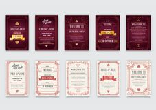 Big Set of Great Quality Style Invitation in Art Deco or Nouveau Epoch 1920`s Gangster Era Collection Vector. High Quality Vector Illustration in EPS 10 Royalty Free Stock Photo