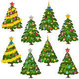 Big set green Christmas trees on white background. Vector collection Royalty Free Stock Image