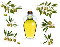 Big set with green olives with bottle of oil Royalty Free Stock Photography