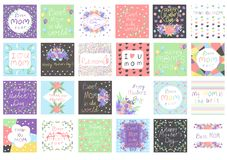 Big set with greeting cards template for mother`s day. hearts pattern, circles, flowers, air ballon, lines. Multicolor shapes royalty free illustration