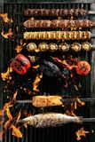 Big Set of Grilled Lule Kebab, Whole Barbecue Vegetables and Fish