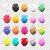 Big Set, Group of Colour Glossy Helium Balloons  on Tran. Sparent Background. Vector Illustration EPS10 Royalty Free Stock Images