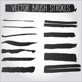 Big set of grunge brush strokes. Collection of black vector ink Stock Image