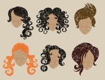 Big  set of grunge hair styling Royalty Free Stock Photo