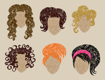 Big  set of grunge hair styling Stock Photography