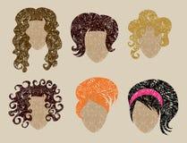 Big  set of grunge hair styling Stock Photography