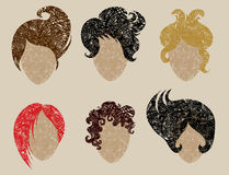Big  set of grunge hair styling Royalty Free Stock Photography