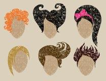 Big  set of grunge hair styling Stock Image