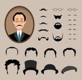 Big set Haircuts, glasses, beard, mustache. Stock Photo