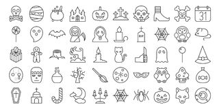 Big set of Halloween outline icon. Include monster such as angle of death, Dracula, mask of murderer, bat and cute ghost, abandoned house, owl, candle, black stock illustration