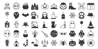 Big set of Halloween silhouette icon. Include monster such as angle of death, Dracula, mask of murderer, bat and cute ghost, abandoned house, owl, candle, jack vector illustration
