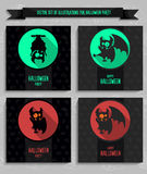 Big set Halloween vector cards in style flat about vampire Royalty Free Stock Photos
